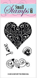 Hearts Love 4 Small Stamps Clear Unmounted Rubber Stamp Set HOTP 1112 New