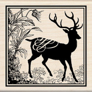 Heirloom Deer Buck Print Wood Mounted Rubber Stamp INKADINKADO New