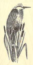 HERRON BIRD CATTAILS Wood Mounted Rubber Stamp Impression Obsession D1222 NEW