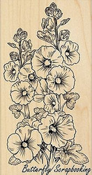 Hollyhocks Flowers Wood Mounted Rubber Stamp PENNY BLACK - NEW, 4376K