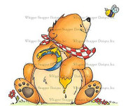 HONEY BEAR AND BEE Unmounted Rubber Stamp Whipper Snapper Designs LY950 NEW