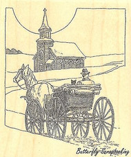 Horse & Buggy, Wood Mounted Rubber Stamp IMPRESSION OBSESSION - NEW, G1961