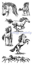 Horse & Horses Set Clear Unmounted Rubber Stamp Set 6 Stamps INKADINKADO NEW