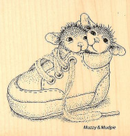 HOUSE MOUSE Baby Shoe Babies Wood Mounted Rubber Stamp STAMPENDOUS HMQ07 New