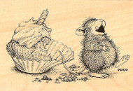 HOUSE MOUSE Cupcake Birthday Wood Mounted Rubber Stamp STAMPENDOUS HMP13 New