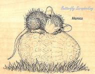 HOUSE MOUSE Easter Egg Nap Wood Mounted Rubber Stamp STAMPENDOUS HMV12 New