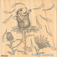 HOUSE MOUSE Flower She Loves Me Wood Mounted Rubber Stamp STAMPENDOUS HMQ05 New