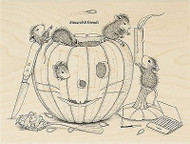 HOUSE MOUSE Halloween Pumpkin Wood Mounted Rubber Stamp STAMPENDOUS HMR43 New