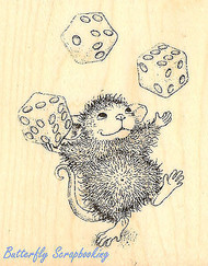 HOUSE MOUSE Juggling Dice Wood Mounted Rubber Stamp STAMPENDOUS HMV03 New