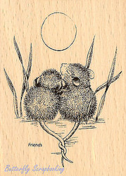 HOUSE MOUSE Love Tails Entwined Wood Mounted Rubber Stamp STAMPENDOUS HMP20 New