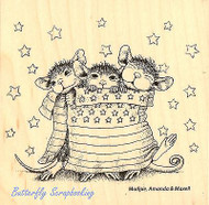 HOUSE MOUSE Star Spangled Mice Wood Mounted Rubber Stamp STAMPENDOUS HMW01 New