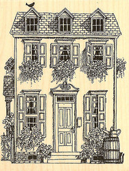 House With Flowers, Wood Mounted Rubber Stamp IMPRESSION OBSESSION - NEW, G1742