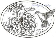 Hummingbird Geranium Flowers Oval Wood Mounted Rubber Stamp NORTHWOODS P8021 New