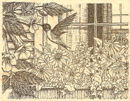 Hummingbird Window, Wood Mounted Rubber Stamp IMPRESSION OBSESSION - NEW, H1740