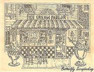 Ice Cream Parlor, Wood Mounted Rubber Stamp IMPRESSION OBSESSION - NEW, H1970
