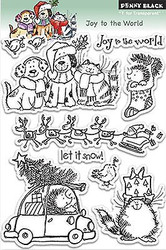 Joy To The World, Clear Unmounted Rubber Stamp Set PENNY BLACK - NEW, 30-143