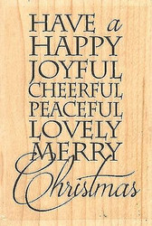 Joyful Christmas Text, Wood Mounted Stamp IMPRESSION OBSESSION - NEW D14458