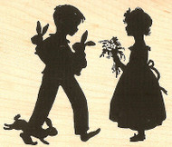 Kids Silouette Wood Mounted Rubber Stamp Impression Obsession Alesa Baker NEW
