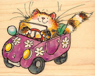 KITTY CAT CAR FLOWER POWERED Wood Mounted Rubber Stamp PENNY BLACK 4131K New