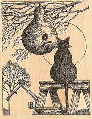 Kitty Cat With Bird Gourd Wood Mounted Rubber Stamp Impression Obsession NEW