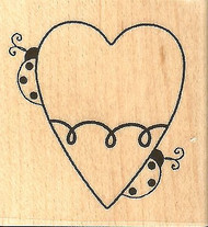 Ladybug Heart Valentine Wood Mounted Rubber Stamp IMPRESSION OBSESSION B9528 NEW