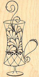 Latte Coffee Cup Leigh Hannan Wood Mounted Rubber Stamp Impression Obsession NEW