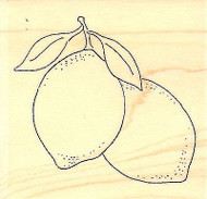 Lemon Pair, Wood Mounted Rubber Stamp IMPRESSION OBSESSION - NEW, C9645