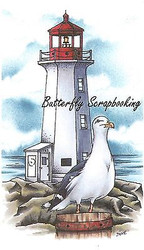 Lighthouse Gull Scene Stamp Cling Unmounted Rubber Stamp C.C. Designs JD1007 New