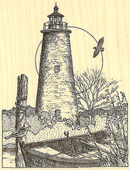 LIGHTHOUSE Ocracoke Wood Mounted Rubber Stamp Impression Obsession F1814 NEW
