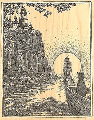 LIGHTHOUSE ON CLIFF Wood Mounted Rubber Stamp Impression Obsession H1992 NEW