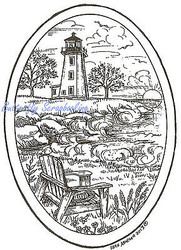Lighthouse Scene Oval Wood Mounted Rubber Stamp Northwoods Rubber Stamp New