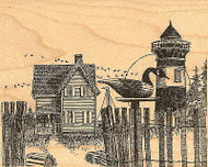 Lighthouse with Decoy Wood Mounted Rubber Stamp Impression Obsession NEW