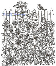 Lilies Flowers Fence Bird Wood Mounted Rubber Stamp Northwoods Rubber Stamp New