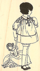 Little Girl with A Dolly Wood Mounted Rubber Stamp Impression Obsession NEW