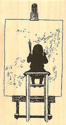 Little Painter, Wood Mounted Rubber Stamp IMPRESSION OBSESSION - NEW, F13315