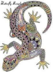 LIZARD Animal Spirit Cling Unmounted Rubber Stamp EARTH ART Sue Coccia New