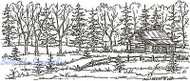 Log Cabin Trees Scene Wood Mounted Rubber Stamp Northwoods Rubber Stamp New