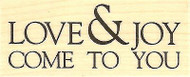 Love & Joy Text, Wood Mounted Rubber Stamp IMPRESSION OBSESSION - NEW, B14285