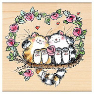 Love And Roses Cats, Wood Mounted Rubber Stamp PENNY BLACK - NEW, 4228K