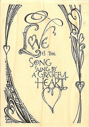Love Is Song Text, Wood Mounted Rubber Stamp IMPRESSION OBSESSION - NEW, J15067