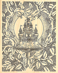 Magic CASTLE with Vines Wood Mounted Rubber Stamp Impression Obsession H1800 NEW