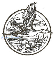 Mallard Duck Flying Circle Border, Wood Mounted Rubber Stamp NORTHWOODS - CC4652