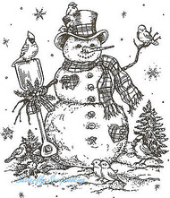 Margaret's Snowman And Bird Friends, Wood Mounted Rubber Stamp NORTHWOODS- P1812