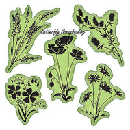 Meadow Set Stamping Gear 5 Unmounted Cling Rubber Stamp Set Inkadinkado New