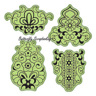 Mehndi Set Stamping Gear 4 Unmounted Cling Rubber Stamp Set Inkadinkado New
