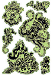 Mermaid Caribbean Sea Unmounted Cling Rubber Stamp Set Inkadinkado 60-60325 New