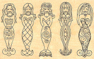 Mermaids Wood Mounted Rubber Stamp Leigh Hannan Impression Obsession G2437 NEW