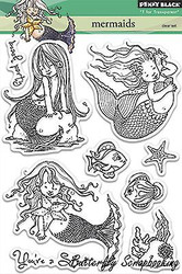 Mermaids, Clear Unmounted Rubber Stamp Set PENNY BLACK- NEW, 30-183