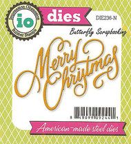 Merry Christmas American made Steel Dies by Impression Obsession DIE236-N New