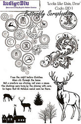 Merry Christmas Deer Set Cling Unmounted Rubber Stamps IndigoBlu Stamp RD1 NEW